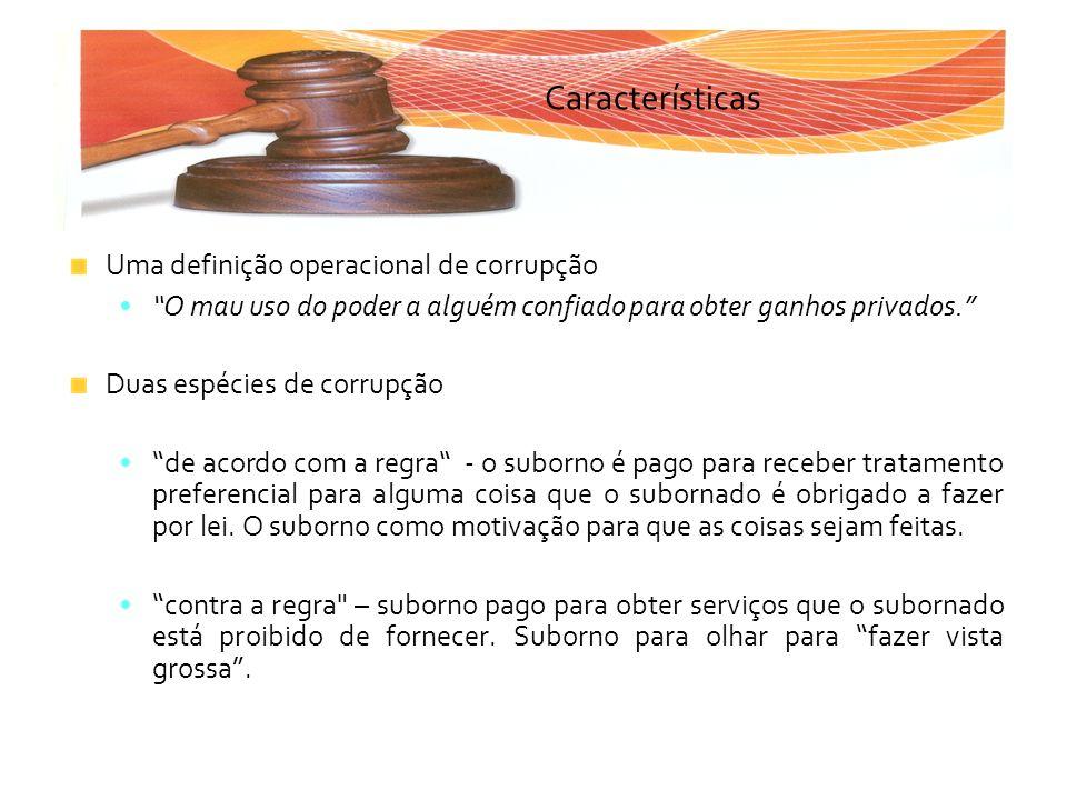 Características Uma definição operacional de corrupção O mau uso do poder a alguém confiado para obter ganhos privados. Duas espécies de corrupção de