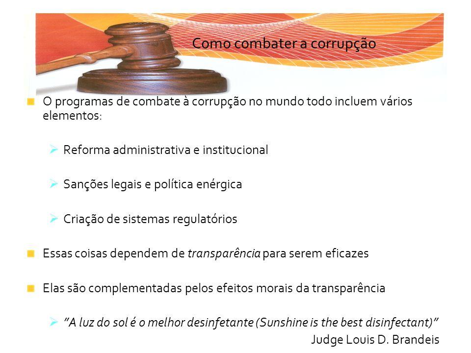 Como combater a corrupção O programas de combate à corrupção no mundo todo incluem vários elementos: Reforma administrativa e institucional Sanções le