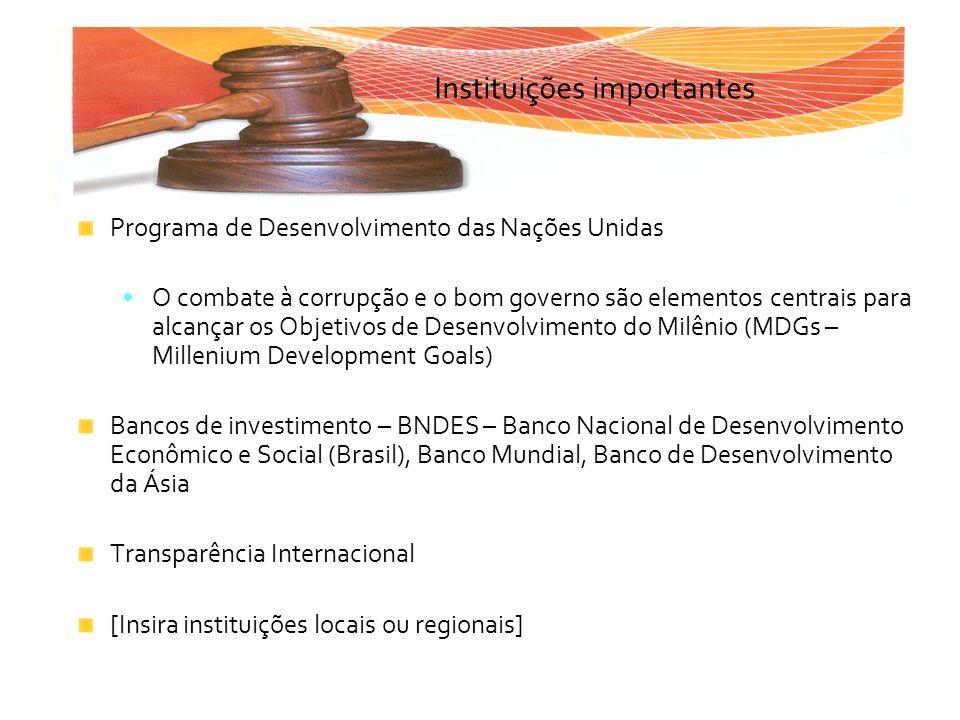 Instituições importantes Programa de Desenvolvimento das Nações Unidas O combate à corrupção e o bom governo são elementos centrais para alcançar os O