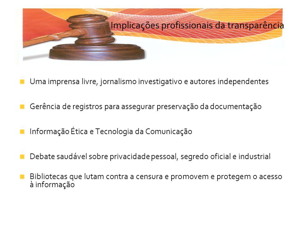 Implicações profissionais da transparência Uma imprensa livre, jornalismo investigativo e autores independentes Gerência de registros para assegurar p