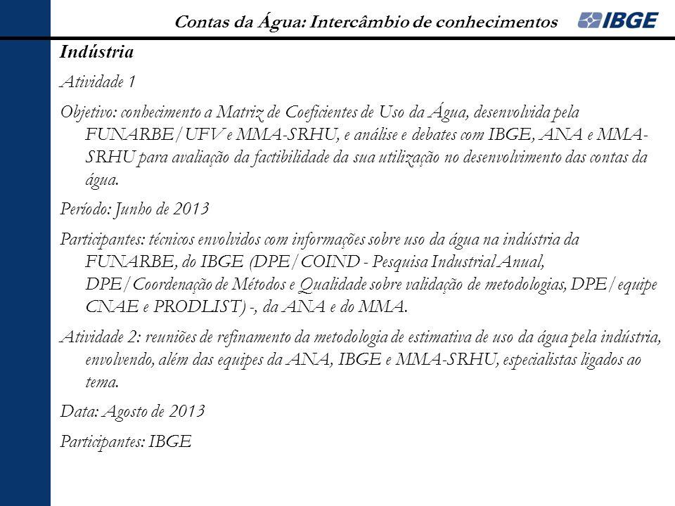Contas da Água: Intercâmbio de conhecimentos Indústria Atividade 1 Objetivo: conhecimento a Matriz de Coeficientes de Uso da Água, desenvolvida pela F