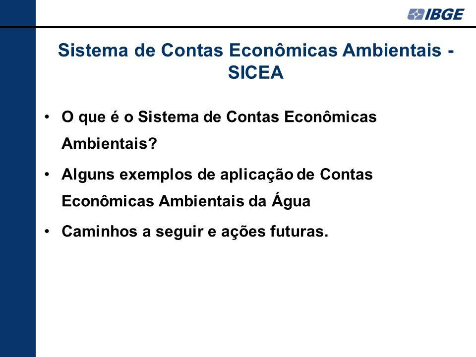Sistema de Contas Econômicas Ambientais - SICEA O que é o Sistema de Contas Econômicas Ambientais? Alguns exemplos de aplicação de Contas Econômicas A