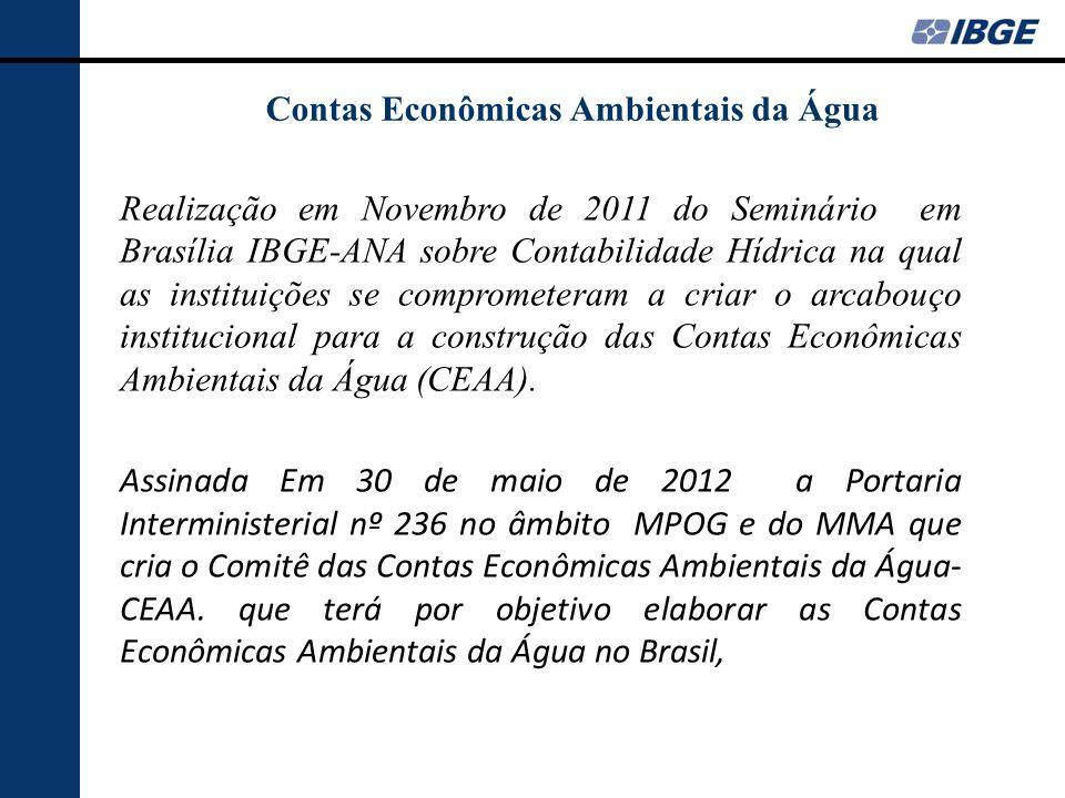 Comitê das Contas Econômicas Ambientais da Água- CEAA- criado pela PI nº 236 no âmbito MPOG e do MMA Objetivo: Elaborar as Contas Econômicas Ambientais da Água no Brasil, observando e adaptando as recomendações e boas práticas internacionais sobre o tema, preconizadas pela Comissão de Estatística das Nações Unidas.