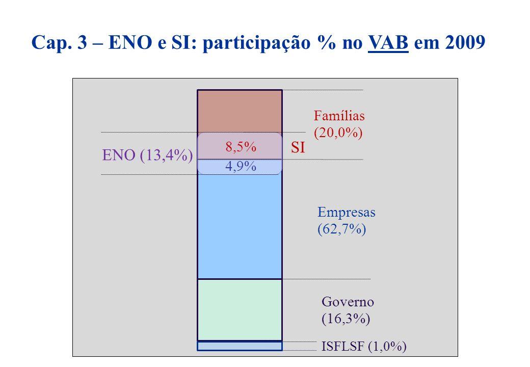 Cap. 3 – ENO e SI: participação % no VAB em 2009 Empresas (62,7%) Famílias (20,0%) Governo (16,3%) ISFLSF (1,0%) ENO (13,4%) 4,9% 8,5% SI