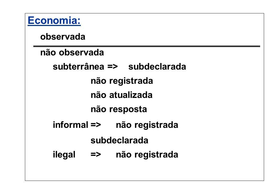 Economia: observada não observada subterrânea => subdeclarada não registrada não atualizada não resposta informal=> não registrada subdeclarada ilegal