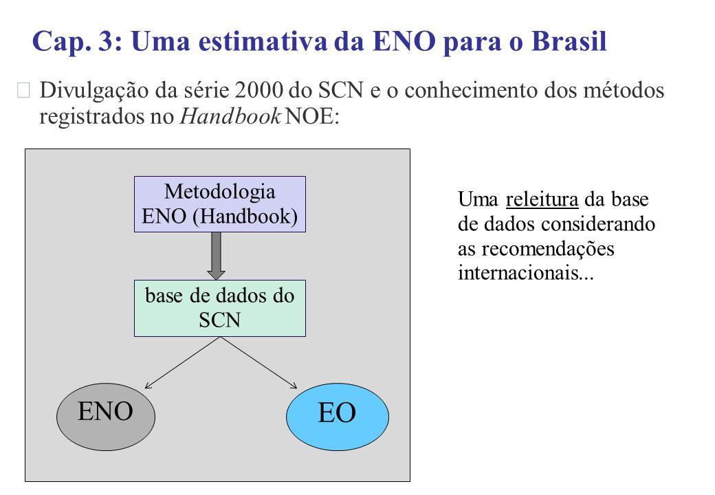 Divulgação da série 2000 do SCN e o conhecimento dos métodos registrados no Handbook NOE: Cap. 3: Uma estimativa da ENO para o Brasil Metodologia ENO