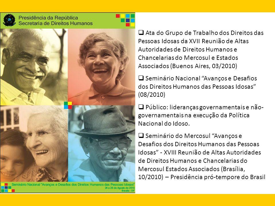 Ata do Grupo de Trabalho dos Direitos das Pessoas Idosas da XVII Reunião de Altas Autoridades de Direitos Humanos e Chancelarias do Mercosul e Estados