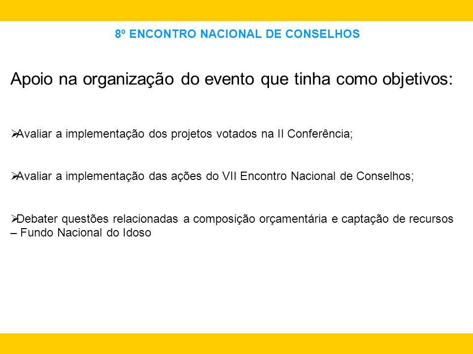 8º ENCONTRO NACIONAL DE CONSELHOS Apoio na organização do evento que tinha como objetivos: Avaliar a implementação dos projetos votados na II Conferên