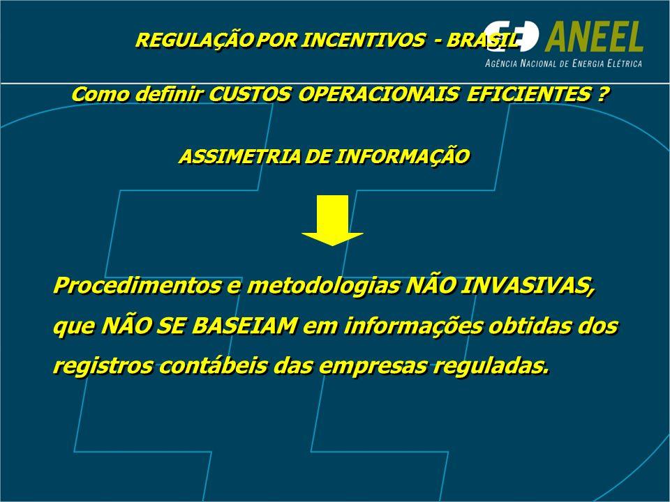 REGULAÇÃO POR INCENTIVOS - BRASIL ASSIMETRIA DE INFORMAÇÃO Procedimentos e metodologias NÃO INVASIVAS, que NÃO SE BASEIAM em informações obtidas dos r