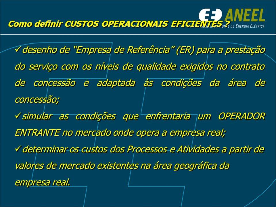 desenho de Empresa de Referência (ER) para a prestação do serviço com os níveis de qualidade exigidos no contrato de concessão e adaptada às condições