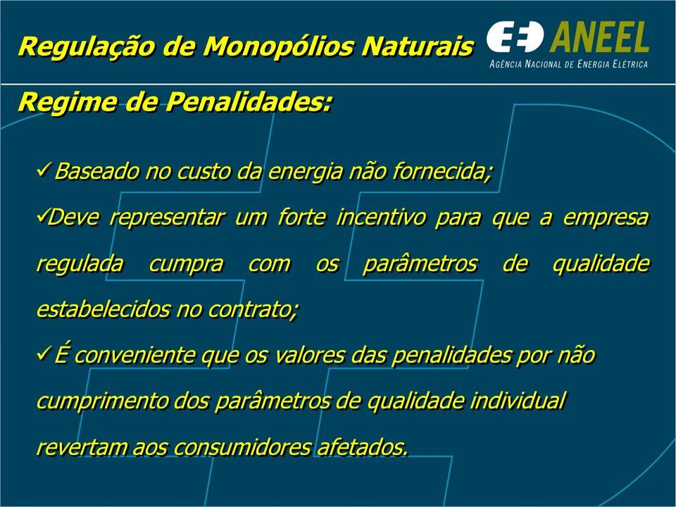 Regulação de Monopólios Naturais Baseado no custo da energia não fornecida; Deve representar um forte incentivo para que a empresa regulada cumpra com
