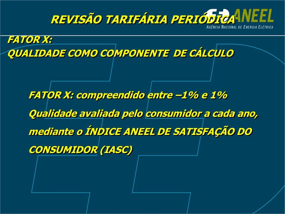 REVISÃO TARIFÁRIA PERIÓDICA FATOR X: QUALIDADE COMO COMPONENTE DE CÁLCULO FATOR X: QUALIDADE COMO COMPONENTE DE CÁLCULO FATOR X: compreendido entre –1