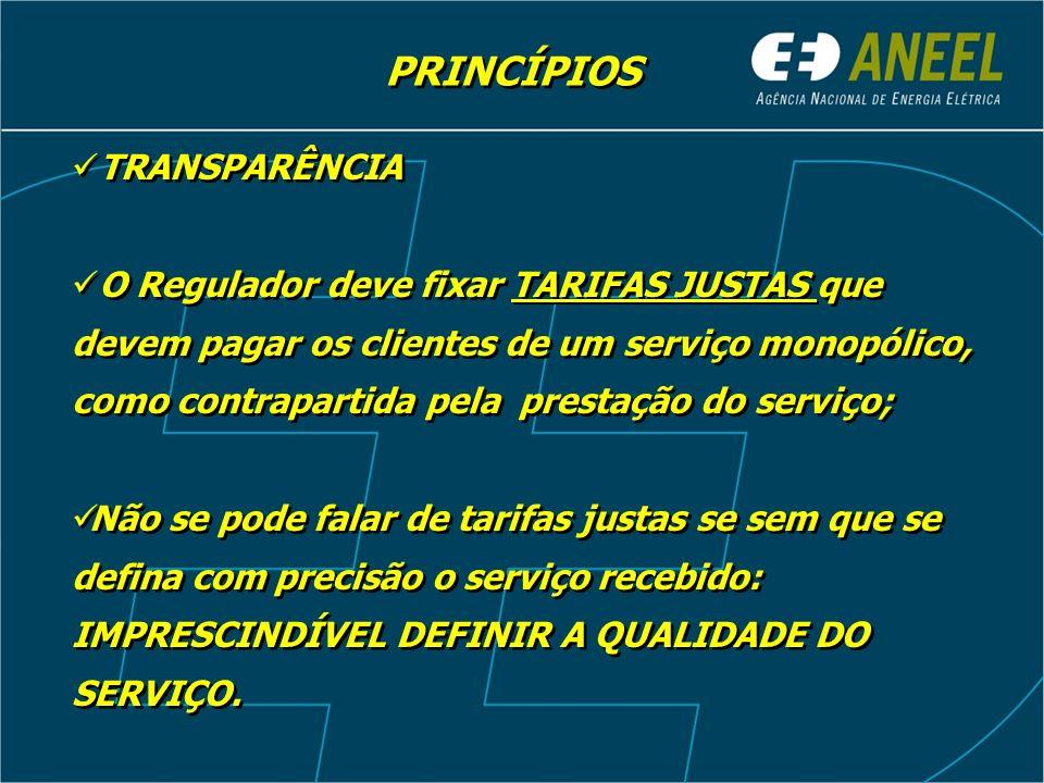 PRINCÍPIOS TRANSPARÊNCIA O Regulador deve fixar TARIFAS JUSTAS que devem pagar os clientes de um serviço monopólico, como contrapartida pela prestação