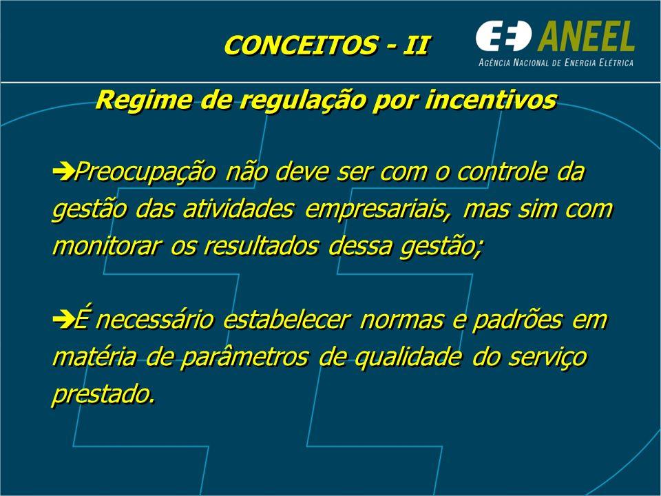 Regime de regulação por incentivos Preocupação não deve ser com o controle da gestão das atividades empresariais, mas sim com monitorar os resultados