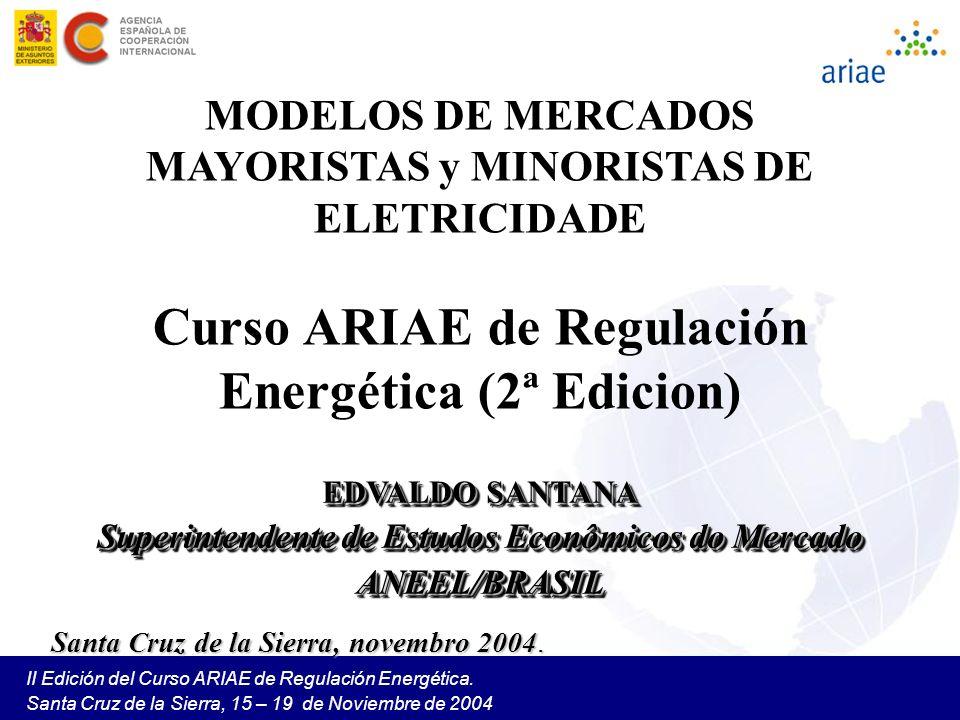 II Edición del Curso ARIAE de Regulación Energética. Santa Cruz de la Sierra, 15 – 19 de Noviembre de 2004 MODELOS DE MERCADOS MAYORISTAS y MINORISTAS