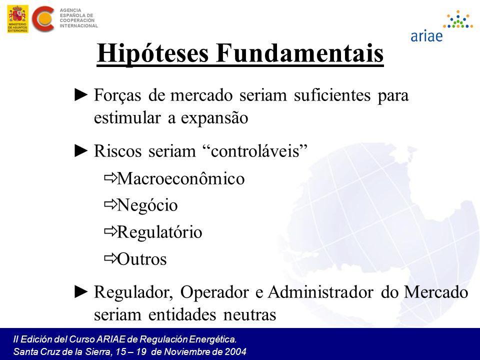 II Edición del Curso ARIAE de Regulación Energética. Santa Cruz de la Sierra, 15 – 19 de Noviembre de 2004 Hipóteses Fundamentais Forças de mercado se