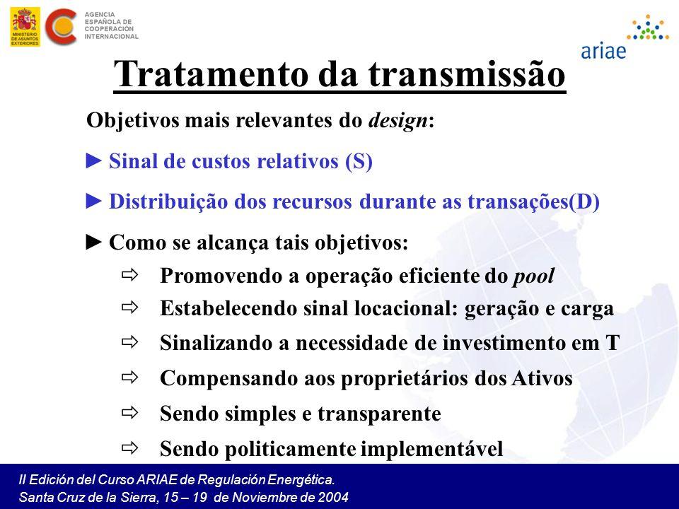 II Edición del Curso ARIAE de Regulación Energética. Santa Cruz de la Sierra, 15 – 19 de Noviembre de 2004 Tratamento da transmissão Objetivos mais re
