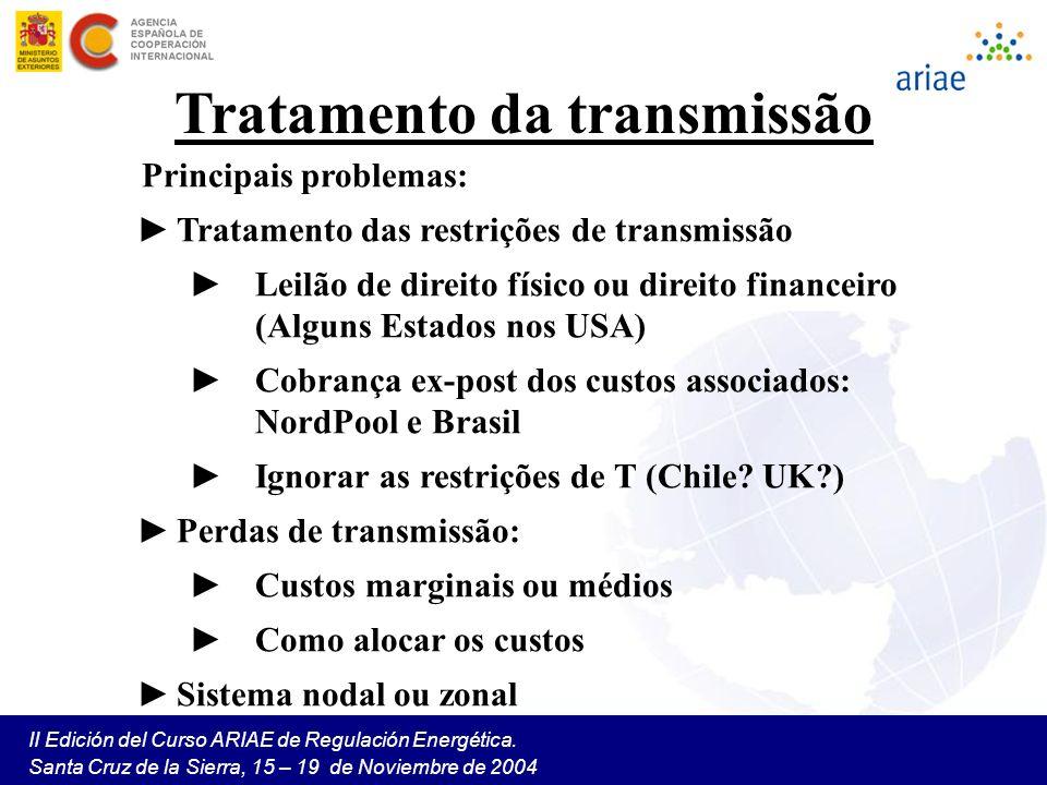 II Edición del Curso ARIAE de Regulación Energética. Santa Cruz de la Sierra, 15 – 19 de Noviembre de 2004 Tratamento da transmissão Principais proble