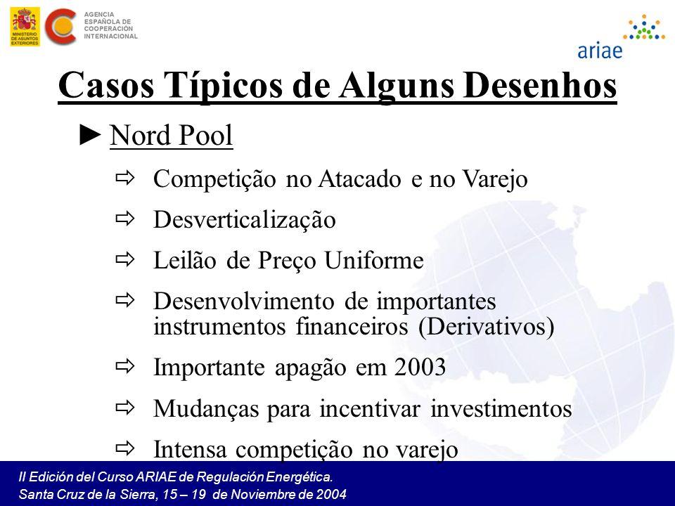 II Edición del Curso ARIAE de Regulación Energética. Santa Cruz de la Sierra, 15 – 19 de Noviembre de 2004 Casos Típicos de Alguns Desenhos Nord Pool