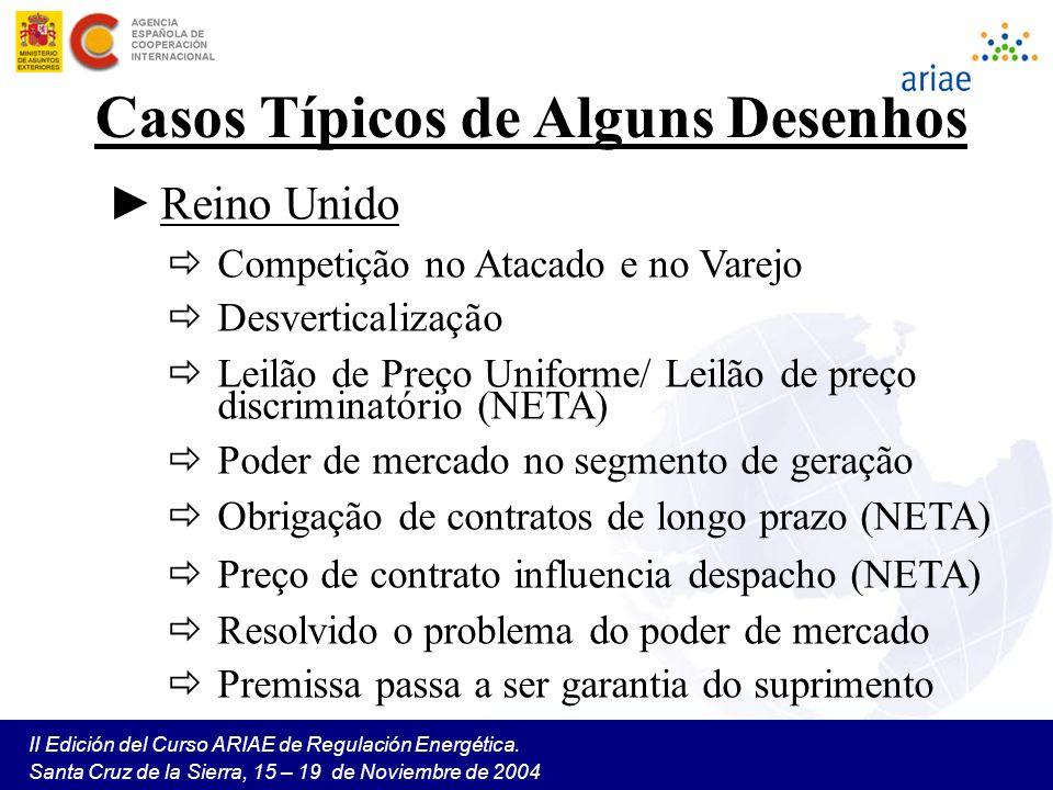 II Edición del Curso ARIAE de Regulación Energética. Santa Cruz de la Sierra, 15 – 19 de Noviembre de 2004 Casos Típicos de Alguns Desenhos Reino Unid