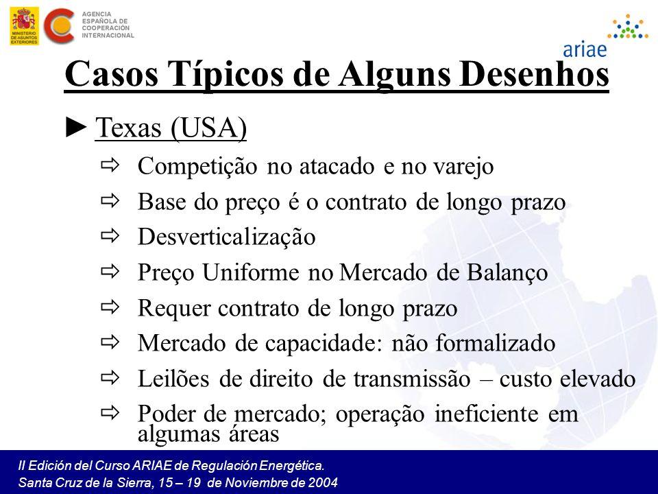 II Edición del Curso ARIAE de Regulación Energética. Santa Cruz de la Sierra, 15 – 19 de Noviembre de 2004 Casos Típicos de Alguns Desenhos Texas (USA