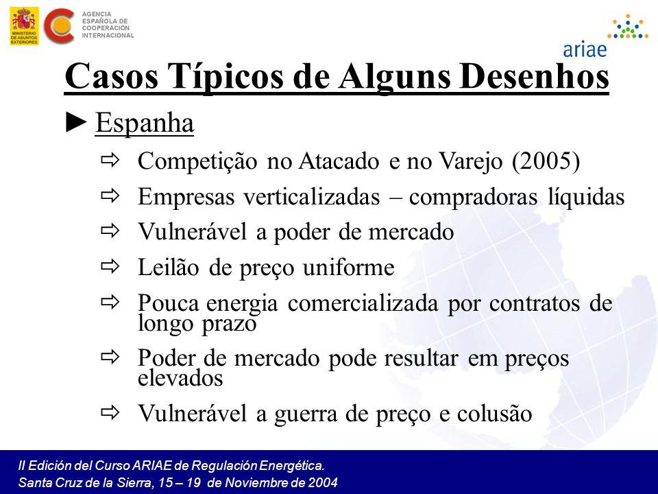 II Edición del Curso ARIAE de Regulación Energética. Santa Cruz de la Sierra, 15 – 19 de Noviembre de 2004 Casos Típicos de Alguns Desenhos Espanha Co