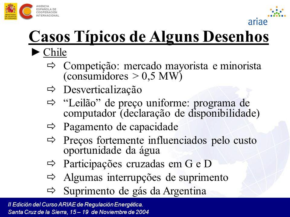 II Edición del Curso ARIAE de Regulación Energética. Santa Cruz de la Sierra, 15 – 19 de Noviembre de 2004 Casos Típicos de Alguns Desenhos Chile Comp