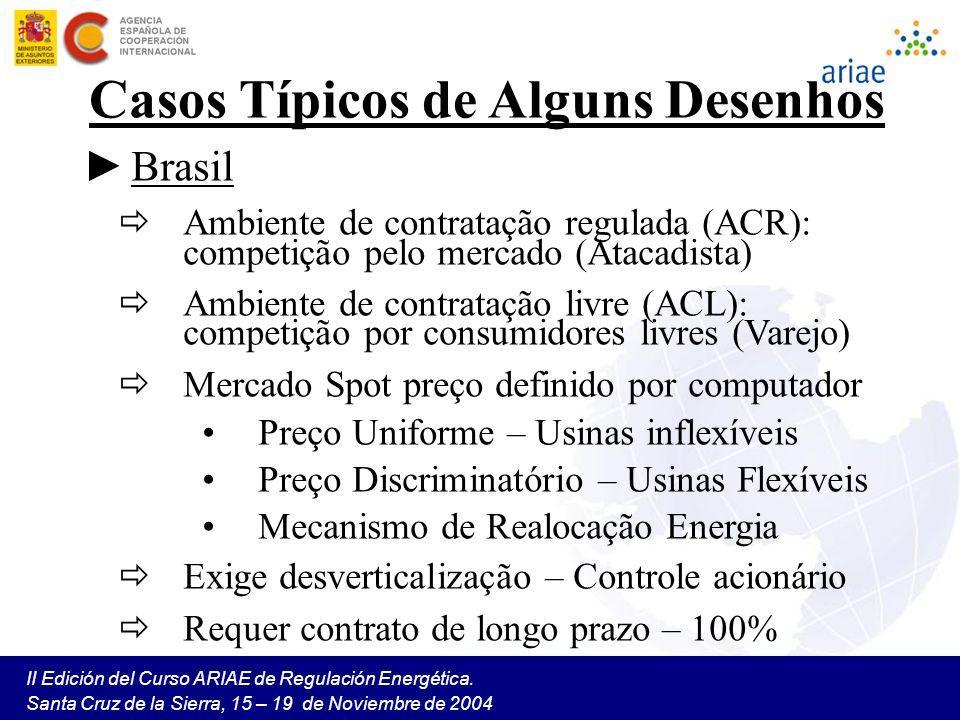 II Edición del Curso ARIAE de Regulación Energética. Santa Cruz de la Sierra, 15 – 19 de Noviembre de 2004 Casos Típicos de Alguns Desenhos Brasil Amb