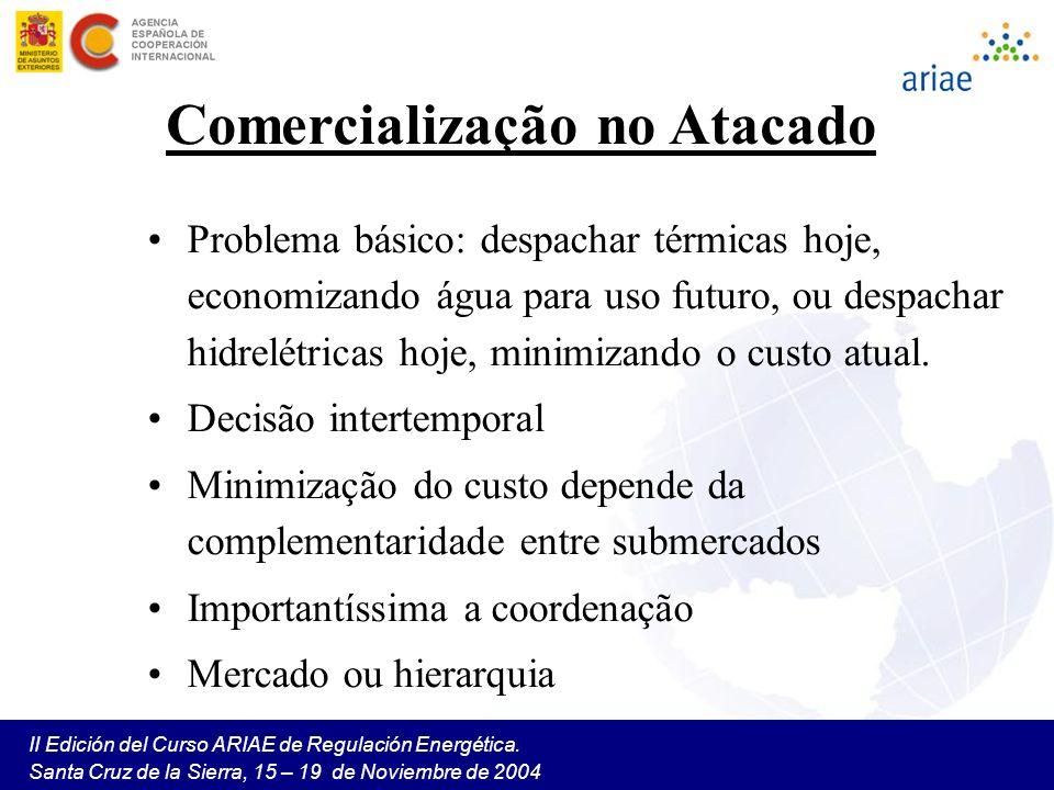II Edición del Curso ARIAE de Regulación Energética. Santa Cruz de la Sierra, 15 – 19 de Noviembre de 2004 Comercialização no Atacado Problema básico: