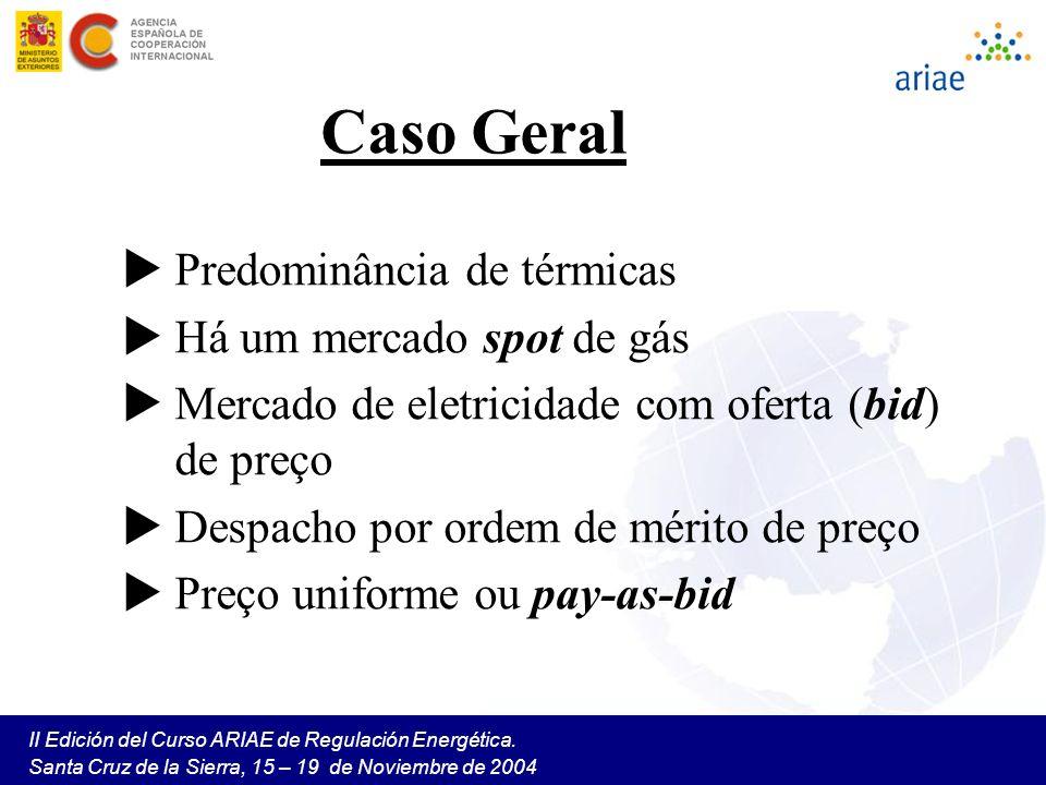 II Edición del Curso ARIAE de Regulación Energética. Santa Cruz de la Sierra, 15 – 19 de Noviembre de 2004 Caso Geral Predominância de térmicas Há um
