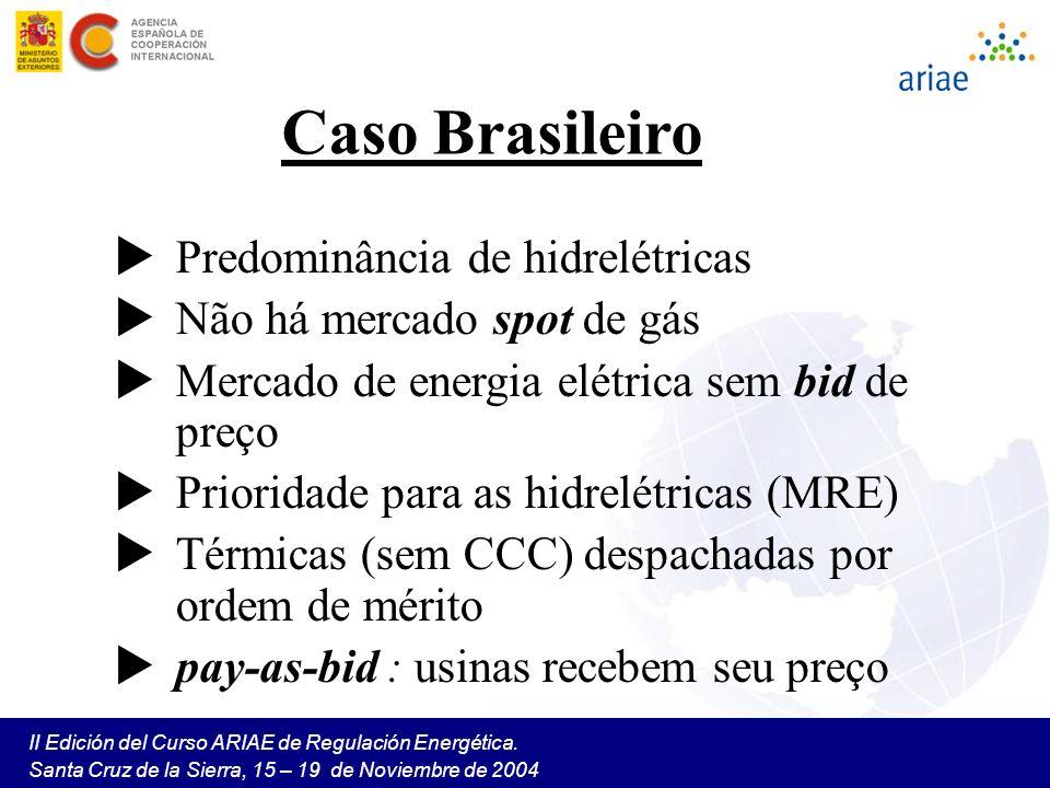 II Edición del Curso ARIAE de Regulación Energética. Santa Cruz de la Sierra, 15 – 19 de Noviembre de 2004 Caso Brasileiro Predominância de hidrelétri
