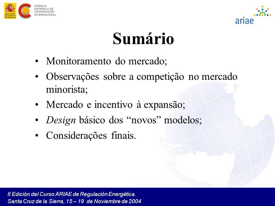 II Edición del Curso ARIAE de Regulación Energética. Santa Cruz de la Sierra, 15 – 19 de Noviembre de 2004 Sumário Monitoramento do mercado; Observaçõ