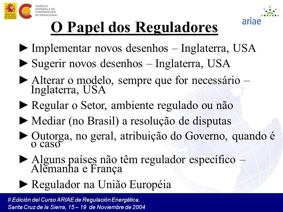II Edición del Curso ARIAE de Regulación Energética. Santa Cruz de la Sierra, 15 – 19 de Noviembre de 2004 O Papel dos Reguladores Implementar novos d