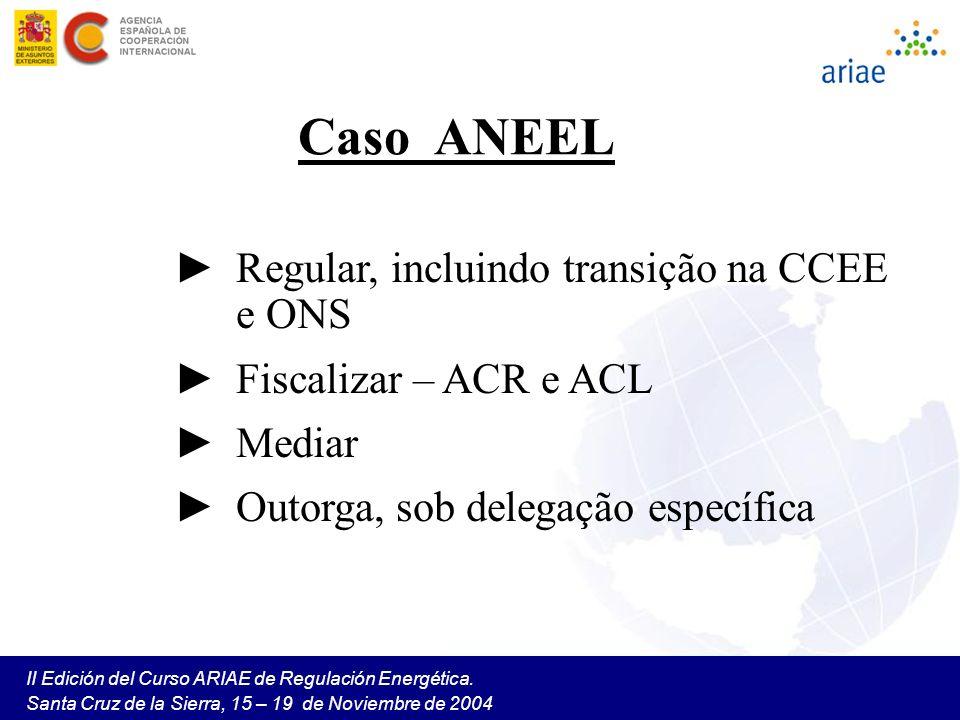 II Edición del Curso ARIAE de Regulación Energética. Santa Cruz de la Sierra, 15 – 19 de Noviembre de 2004 Caso ANEEL Regular, incluindo transição na