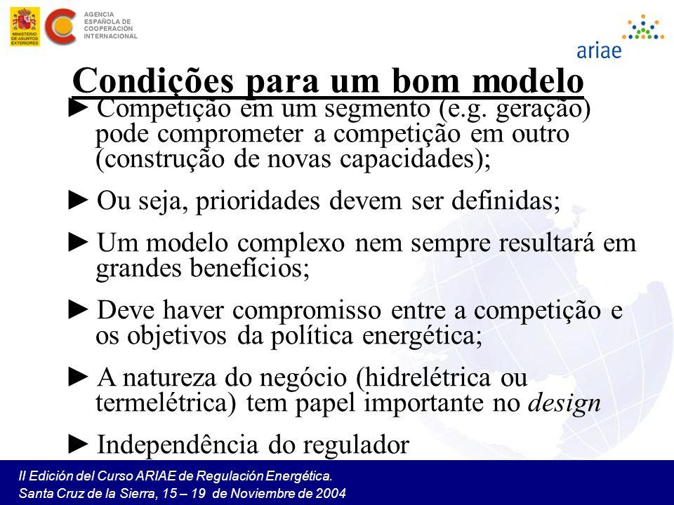 II Edición del Curso ARIAE de Regulación Energética. Santa Cruz de la Sierra, 15 – 19 de Noviembre de 2004 Condições para um bom modelo Competição em
