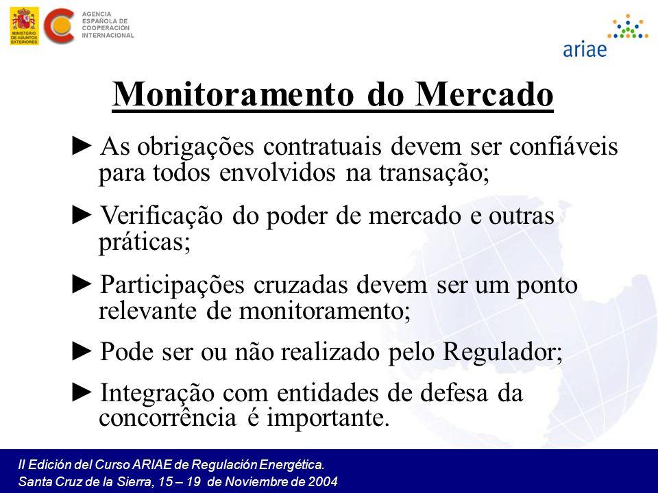 II Edición del Curso ARIAE de Regulación Energética. Santa Cruz de la Sierra, 15 – 19 de Noviembre de 2004 Monitoramento do Mercado As obrigações cont