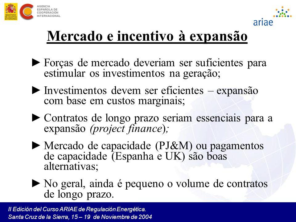 II Edición del Curso ARIAE de Regulación Energética. Santa Cruz de la Sierra, 15 – 19 de Noviembre de 2004 Mercado e incentivo à expansão Forças de me
