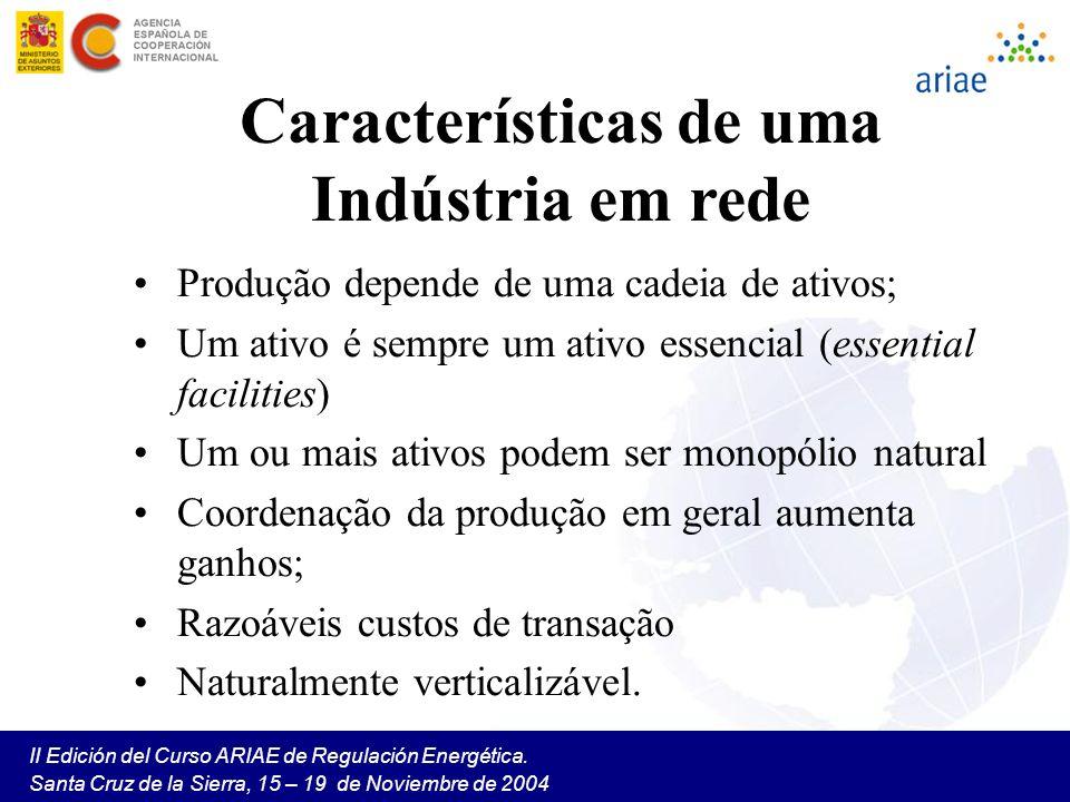 II Edición del Curso ARIAE de Regulación Energética. Santa Cruz de la Sierra, 15 – 19 de Noviembre de 2004 Características de uma Indústria em rede Pr