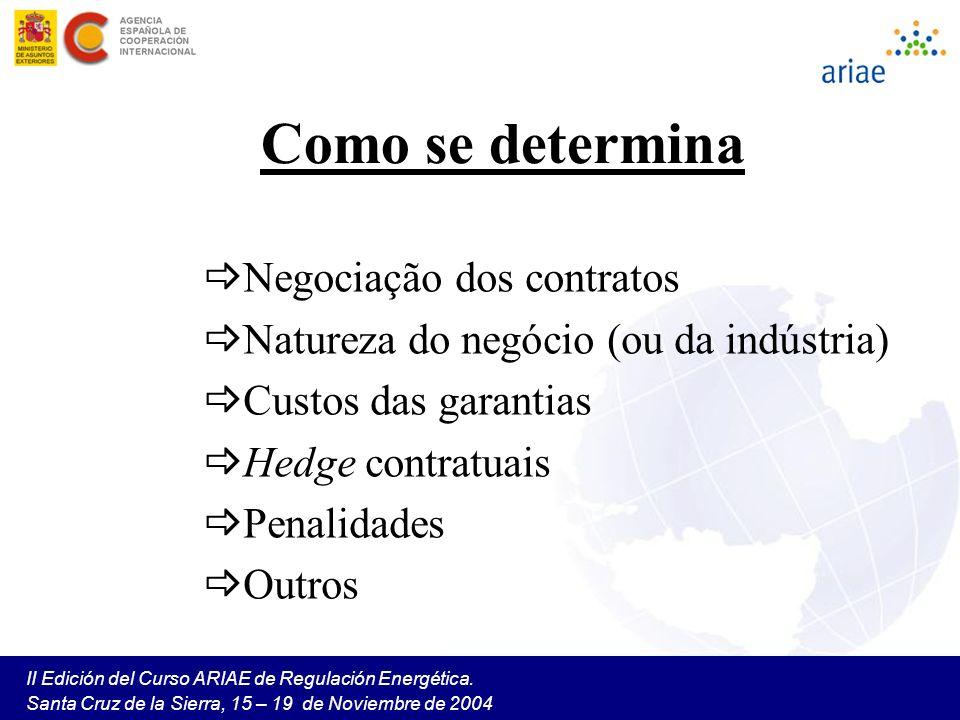 II Edición del Curso ARIAE de Regulación Energética. Santa Cruz de la Sierra, 15 – 19 de Noviembre de 2004 Como se determina Negociação dos contratos