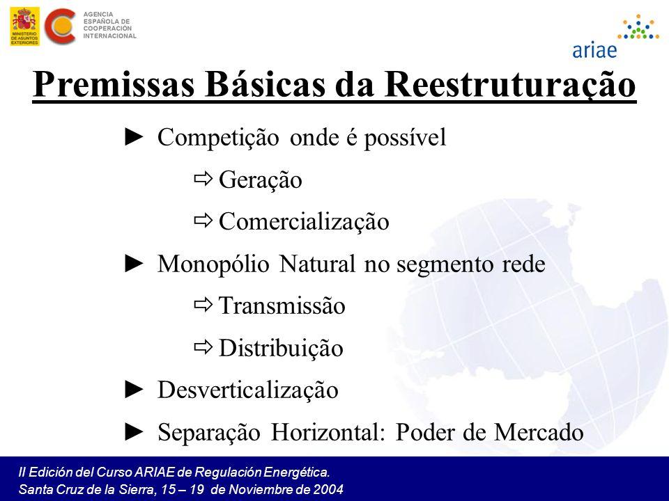 II Edición del Curso ARIAE de Regulación Energética. Santa Cruz de la Sierra, 15 – 19 de Noviembre de 2004 Premissas Básicas da Reestruturação Competi