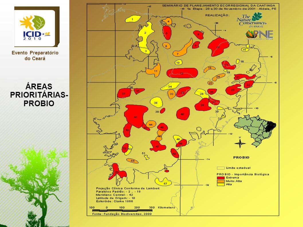 Evento Preparatório do Ceará ÁREAS PRIORITÁRIAS- PROBIO