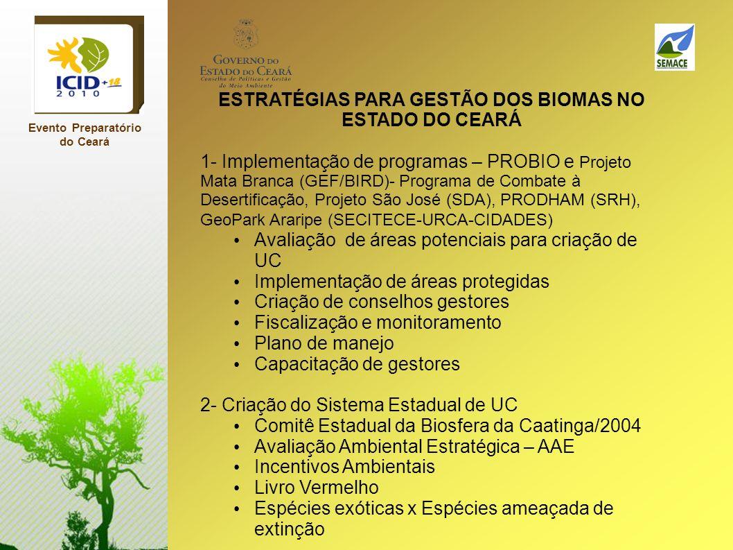 Evento Preparatório do Ceará ESTRATÉGIAS PARA GESTÃO DOS BIOMAS NO ESTADO DO CEARÁ 1- Implementação de programas – PROBIO e Projeto Mata Branca (GEF/B