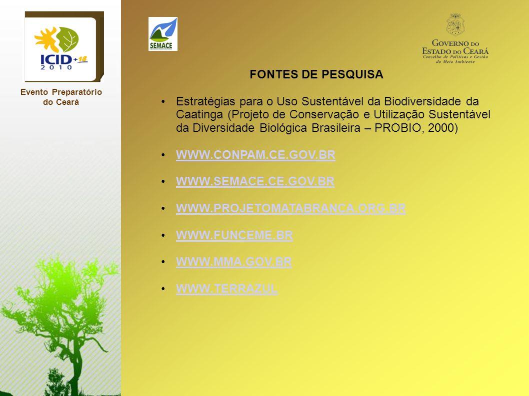 Evento Preparatório do Ceará FONTES DE PESQUISA Estratégias para o Uso Sustentável da Biodiversidade da Caatinga (Projeto de Conservação e Utilização