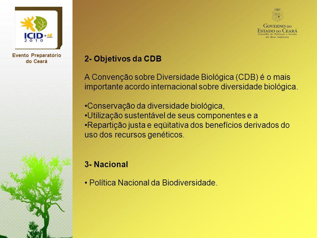 Evento Preparatório do Ceará 2- Objetivos da CDB A Convenção sobre Diversidade Biológica (CDB) é o mais importante acordo internacional sobre diversid