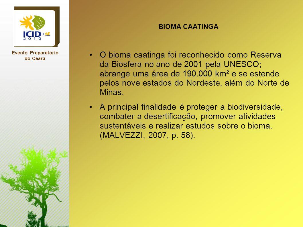 O bioma caatinga foi reconhecido como Reserva da Biosfera no ano de 2001 pela UNESCO; abrange uma área de 190.000 km² e se estende pelos nove estados