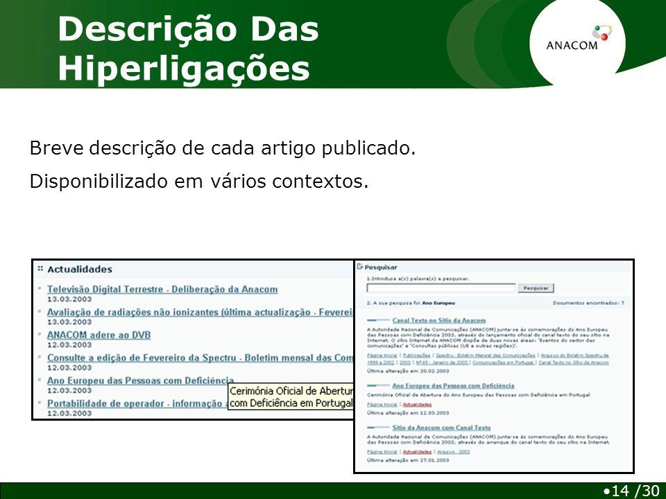 Descrição Das Hiperligações 14 /30 Breve descrição de cada artigo publicado.