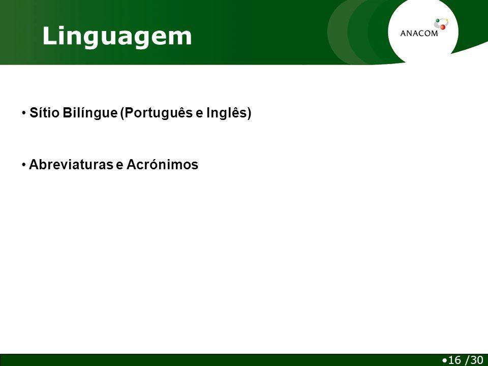 Linguagem 16 /30 Sítio Bilíngue (Português e Inglês) Abreviaturas e Acrónimos