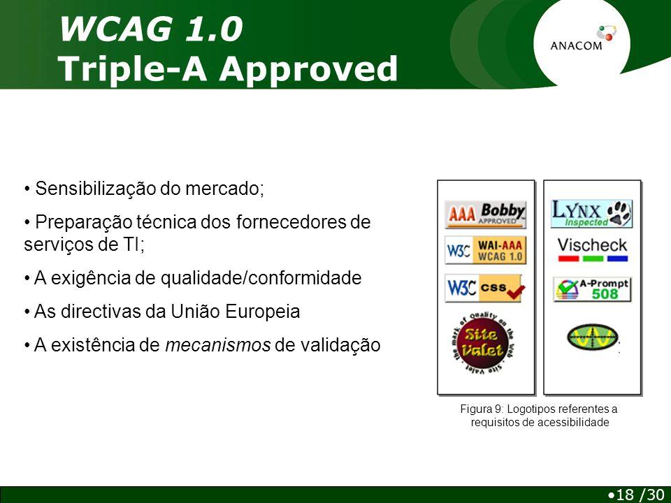 WCAG 1.0 Triple-A Approved Figura 9: Logotipos referentes a requisitos de acessibilidade Sensibilização do mercado; Preparação técnica dos fornecedores de serviços de TI; A exigência de qualidade/conformidade As directivas da União Europeia A existência de mecanismos de validação 18 /30