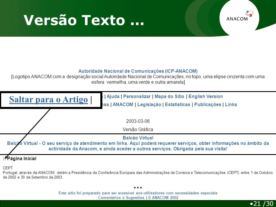Autoridade Nacional de Comunicações (ICP-ANACOM) [Logotipo ANACOM com a designação social Autoridade Nacional de Comunicações, no topo, uma elipse cinzenta com uma esfera vermelha, uma verde e outra amarela] Balcão Virtual Balcão Virtual - O seu serviço de atendimento em linha.