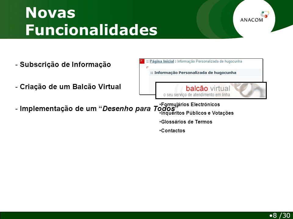 - Subscrição de Informação Novas Funcionalidades - Criação de um Balcão Virtual Formulários Electrónicos Inquéritos Públicos e Votações Glossários de Termos Contactos - Implementação de um Desenho para Todos 8 /30